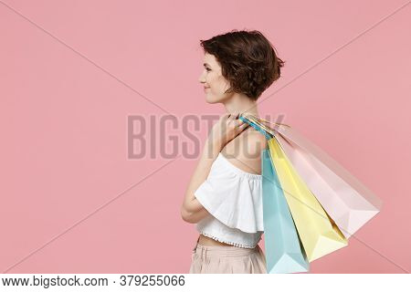 Side View Of Pretty Young Woman Girl In Summer Clothes Hold Package Bag With Purchases Isolated On P