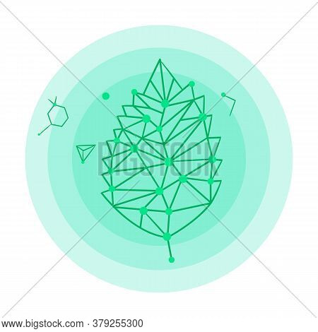 Icon Of Leaf Hologram Or Logo. Green Leaf Elements, Dna Connection, Isolated At White Background. Ex