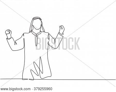 One Single Line Drawing Of Young Happy Muslim Junior Manager Raise Hands To Celebrate The Success. S