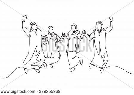One Single Line Drawing Of Young Business People Muslim Jump Together To Celebrate. Saudi Arabian Bu