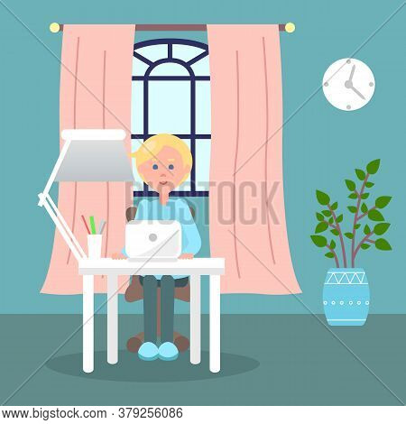 Fair Hair Man Sitting At Table With Lamp And Using Laptop. Quarantine Distance Work. Freelance Work