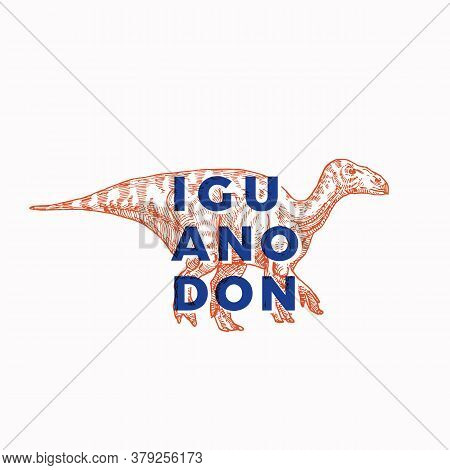 Prehistoric Dinosaur Abstract Sign, Symbol Or Logo Template. Hand Drawn Iguanodon Reptile With Moder
