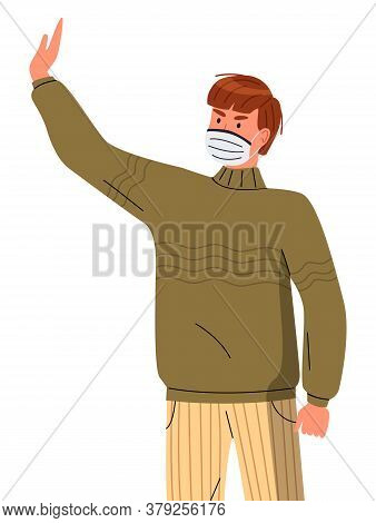 Isolated Portrait Of Man Wearing Face Medical Mask Show Stop Gesture, Stop Gesture At White Backgrou
