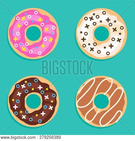 Donuts, Set Of Realistic Donuts On A Green Background. Vector Illustration. Vector.