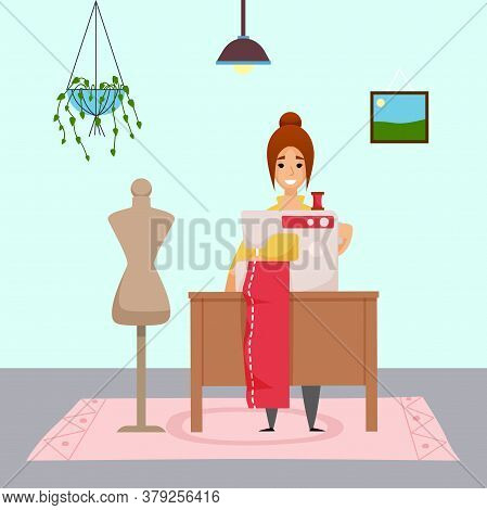 Woman Sewing Cloth Or Dress At Sewing Machine At Home. Sewer Working At Distance Work At Home. Empty