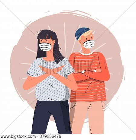 Young Girl With Guy Wearing Face Medical Masks Crossed Hands At Chest At Colorful Vector Background.