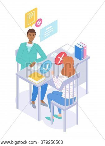 Illustration Of A Medical Subject. Reception At The Practicing Doctor. Consultation With Therapist.