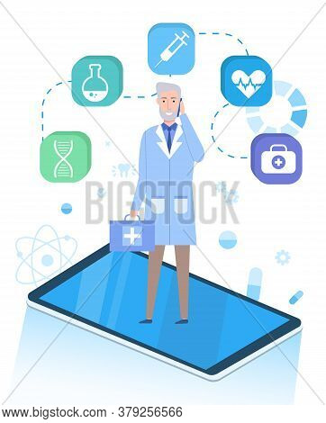 Isometric Illustration Of Phone. Doctor Wearing Medical Gown, Talking At Phone, Holding First Aid Ki