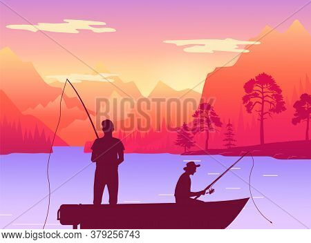 Fishermans In Fishing Boat. Silhouette Of Two Men Sitting In Pleasure Boat Who Fish On The Lake. Per