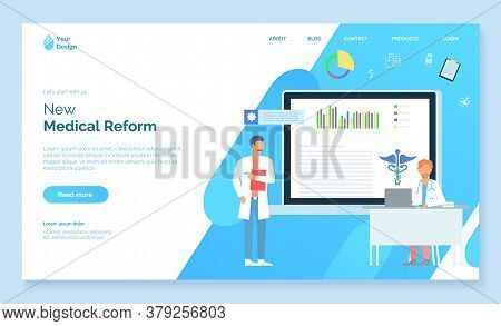 New Medical Reform. Medical Website, Landing Page. Doctor With Clipborad, Physician Or Therapist Sit