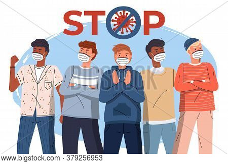 Crowd Of Multinational Guys In Face Medical Masks Protesting Against World Epidemy. Group Of Charact