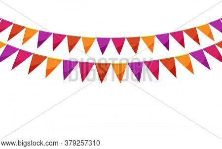 Red Paper Bunting Party Flags Isolated On White Background. Carnival Garland With Flags. Decorative