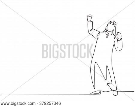 One Single Line Drawing Of Young Happy Muslim Manager Celebrating His Work Success. Saudi Arabian Em