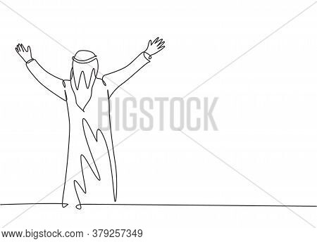 One Continuous Line Drawing Of Young Happy Muslim Businessman Celebrate His Business Deal Project. S