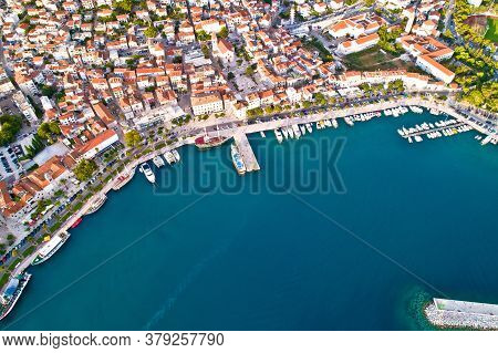 Makarska. Tourist City Of Makarska Waterfront Aerial View, Dalmatia Archipelago Of Croatia