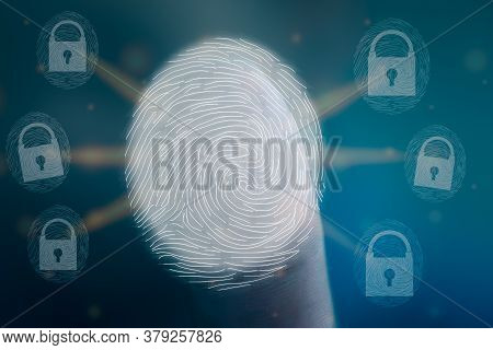 Fingerprint Scan Provides Security Access With Identification. Concept Of Fingerprint Identification