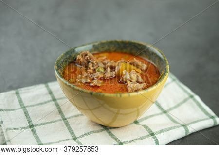Delicious Thai Pork Panang Curry. Thailand Tradition Red Curry With Pork Or Chicken Menu In Thai Nam