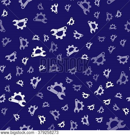 White Wrench Spanner And Gear Icon Isolated Seamless Pattern On Blue Background. Adjusting, Service,