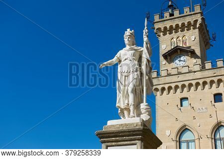 The Statue of Liberty and The City hall in San Marino, The Republic of San Marino