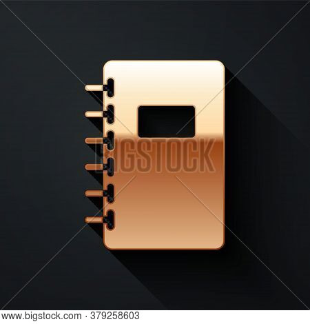 Gold Notebook Icon Isolated On Black Background. Spiral Notepad Icon. School Notebook. Writing Pad.