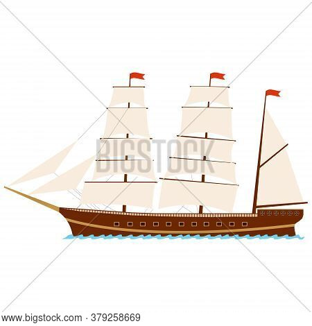 Sailing Ship. Ship With Sails Isolated On A White Background. Vector Illustration. Vector.