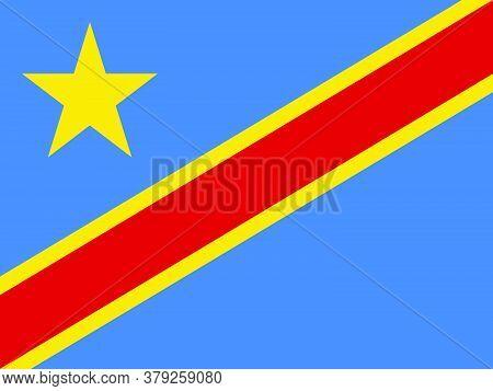 Flag Of Democratic Republic Congo. Vector Illustration
