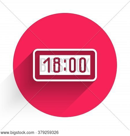 White Digital Alarm Clock Icon Isolated With Long Shadow. Electronic Watch Alarm Clock. Time Icon. R