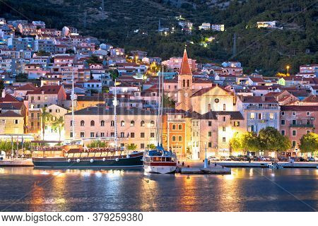 Town Of Makarska Waterfront And Biokovo Mountain Evening View, Dalmatia Region Of Croatia