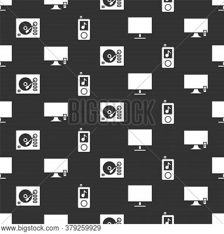 Set Computer Monitor Screen, Smart Tv, Vinyl Player And Music Player On Seamless Pattern. Vector
