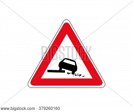 Information Road Sign.going To The Side Of The Road Is Dangerous.vector.