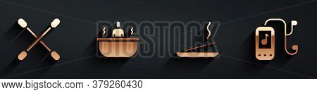 Set Cotton Swab For Ears, Bathtub, Scented Spa Stick And Music Player Icon With Long Shadow. Vector