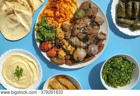 Famous Traditional Arabic, Turkish, Israel Food. Grilled Chicken, Lamb, Beef, Sausages, Vegetables,