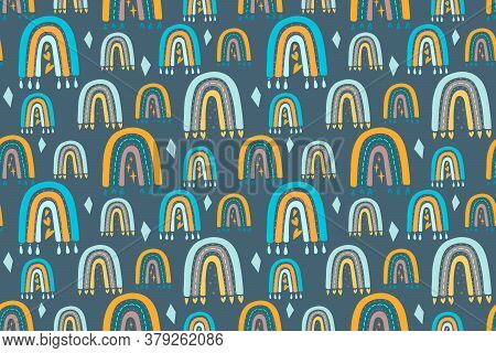 Seamless Childish Pattern With Trendy Rainbows. Creative Scandinavian Kids Texture For Fabric, Wrapp