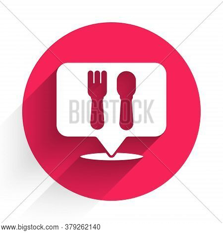 White Cafe And Restaurant Location Icon Isolated With Long Shadow. Fork And Spoon Eatery Sign Inside