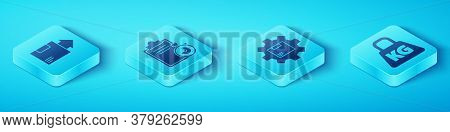 Set Isometric Carton Cardboard Box, Verification Of Delivery List Clipboard, Weight And Gear Wheel W