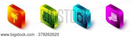 Set Isometric Mail Box, Envelope, Verification Of Delivery List Clipboard And Delivery Hand With Box