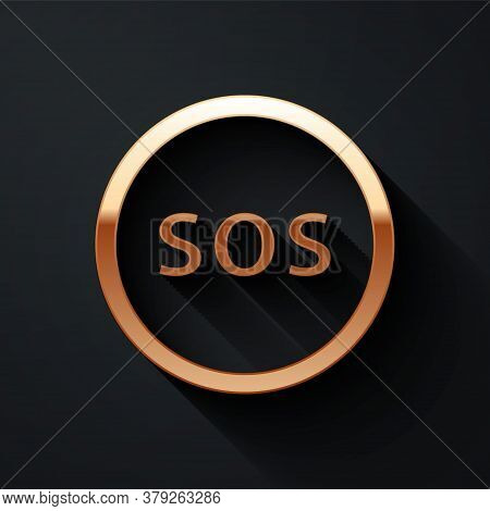Gold Location With Sos Icon Isolated On Black Background. Sos Call Marker. Map Pointer Sign. Long Sh