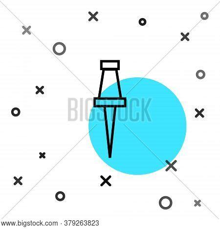 Black Line Push Pin Icon Isolated On White Background. Thumbtacks Sign. Random Dynamic Shapes. Vecto
