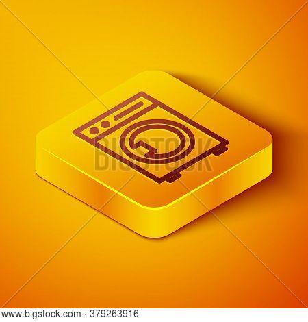 Isometric Line Washer Icon Isolated On Orange Background. Washing Machine Icon. Clothes Washer - Lau