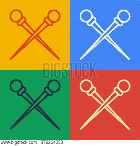 Pop Art Line Knitting Needles Icon Isolated On Color Background. Label For Hand Made, Knitting Or Ta