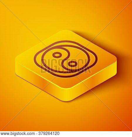 Isometric Line Yin Yang Symbol Of Harmony And Balance Icon Isolated On Orange Background. Yellow Squ