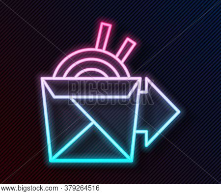 Glowing Neon Line Online Ordering And Noodles Delivery Icon Isolated On Black Background. Vector Ill