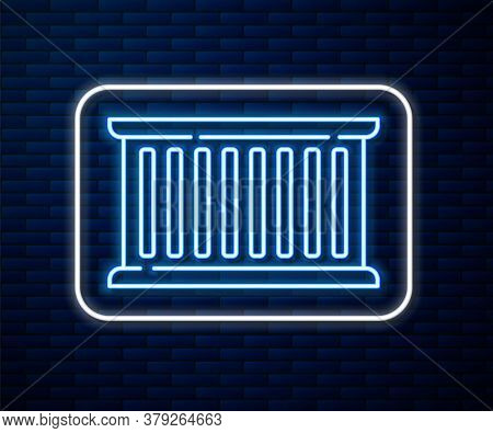 Glowing Neon Line Container Icon Isolated On Brick Wall Background. Crane Lifts A Container With Car