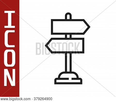 Black Line Road Traffic Sign. Signpost Icon Isolated On White Background. Pointer Symbol. Isolated S