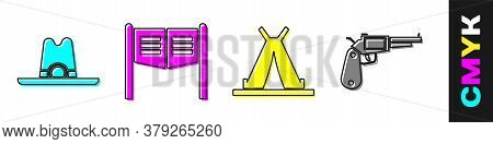 Set Western Cowboy Hat, Saloon Door, Indian Teepee Or Wigwam And Revolver Gun Icon. Vector