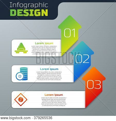 Set Sushi On Cutting Board, Chinese Yuan Currency And Yin Yang. Business Infographic Template. Vecto