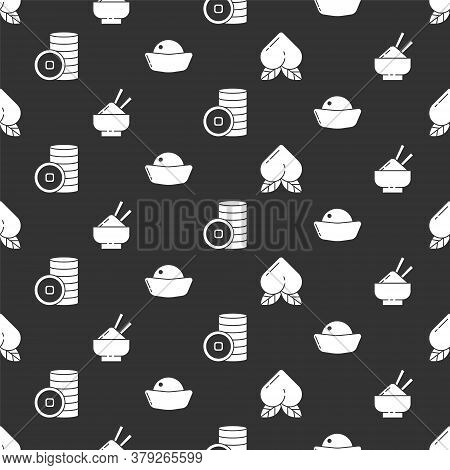 Set Peach Fruit, Rice In A Bowl With Chopstick, Chinese Yuan Currency And Sushi On Seamless Pattern.