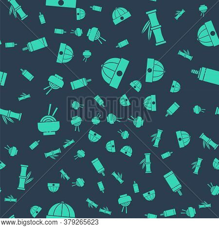 Set Chinese Hat, Bamboo, Asian Noodles In Bowl And Firework On Seamless Pattern. Vector