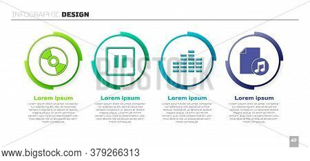 Set Cd Or Dvd Disk, Pause Button, Music Equalizer And Music Book With Note. Business Infographic Tem