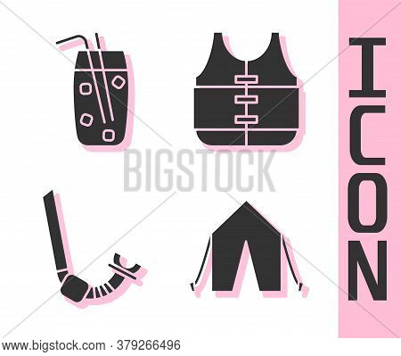 Set Tourist Tent, Cocktail And Alcohol Drink, Snorkel And Life Jacket Icon. Vector